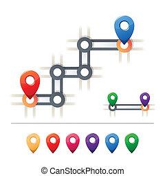 mappa, destinazione, icone