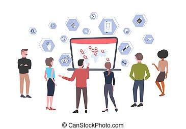 mappa, differente, concetto, computer, etichette, laptop, businesspeople, virtuale, dall'aspetto, domande, lunghezza, pieno, appartamento, posizione, interfaccia, mondo, orizzontale, geo, schermo