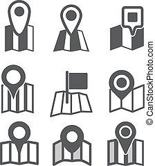 mappa, differente, web, collezione, icone