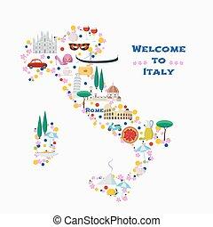 mappa, disegno, vettore, italia, illustrazione