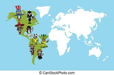 mappa, diversità, illustration., persone, cartoni animati, mondo, america