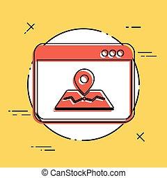 mappa, domanda, appartamento, icona
