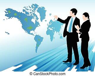 mappa, donna guardando, uomo affari, mondo digitale