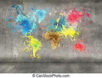 mappa, fatto, vernice, parete, concreto, schizzi, fondo, mondo