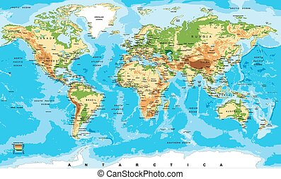 mappa, fisico, mondo