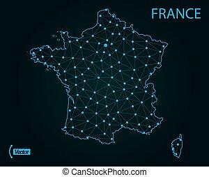 mappa, france., vettore, illustration., mondo