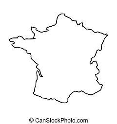 mappa, francia, isolato, icona