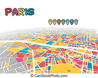 mappa, francia, parigi, centro, vettore, 3d