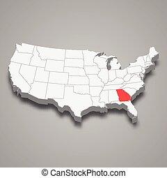 mappa georgia, stati, stato, posizione, entro, unito, 3d