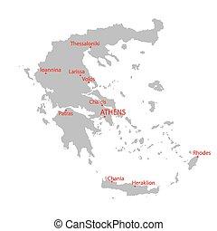 mappa, grigio, grecia
