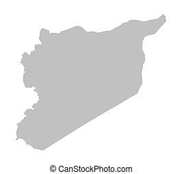 mappa, grigio, siria