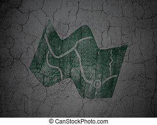 mappa, grunge, parete, viaggiare, fondo, concept: