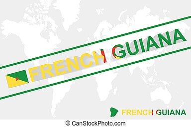 mappa, guiana, testo, illustrazione, bandiera, francese