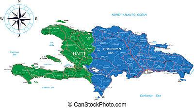 mappa, haiti, repubblica, domenicano