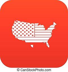 mappa, icona americana, rosso, digitale