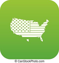 mappa, icona americana, verde, digitale