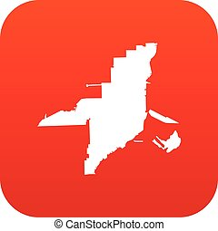 mappa, icona, florida, rosso, digitale