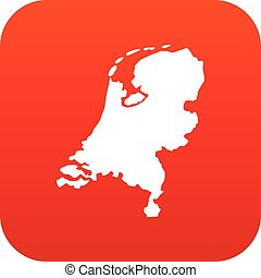 mappa, icona, olanda, rosso, digitale