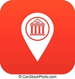 mappa, icona, perno, rosso, digitale