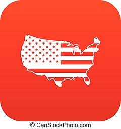 mappa, icona, stati uniti, rosso, digitale