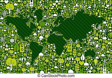 mappa, icone, globo, sfondo verde, terra