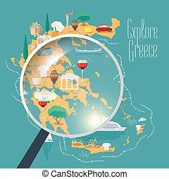 mappa, illustrazione, elemento, vettore, disegno, grecia