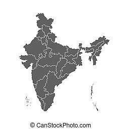 mappa, india, amministrativo