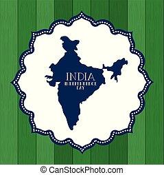 mappa, indiano, laccio, giorno indipendenza