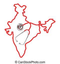 mappa, intorno, medico, fondo, india, stetoscopio, concetto
