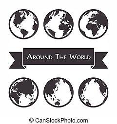 mappa, intorno, ), (, profilo mondo