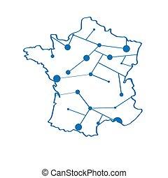 mappa, isolato, francia