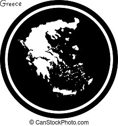 mappa, isolato, illustrazione, vettore, sfondo nero, grecia, cerchio bianco