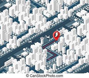 mappa, isometrico, 3d, città