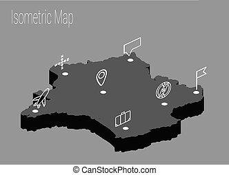 mappa, isometrico, concetto, francia