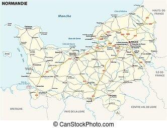 mappa, lingua, regione, francese, normandia, nuovo, strada