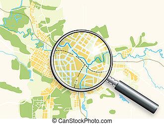 mappa, loupe, città