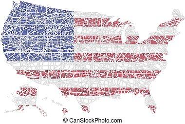 mappa, modellato, bandiera nazionale, ci, americano, foderare