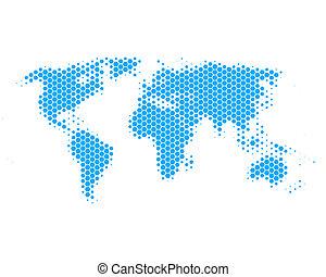 mappa mondo, esagoni