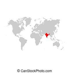 mappa, mondo, india