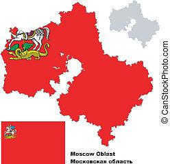 mappa, mosca, bandiera, contorno, oblast