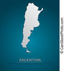 mappa, naturale, carta, argentina, scheda, 3d