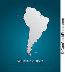 mappa, naturale, carta, sud america, scheda, 3d