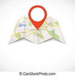 mappa, navigazione, rosso, perno