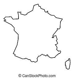 mappa, nero, contorno, francia
