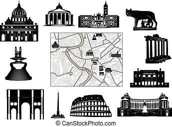 mappa, nero-e-bianco, hallmarks, rome.