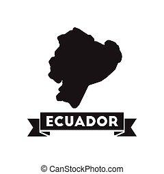 mappa, nero, ecuador, icona, bianco, appartamento