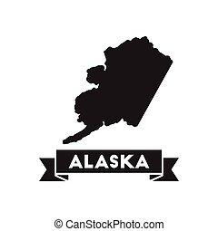 mappa, nero, icona, bianco, alaska, appartamento