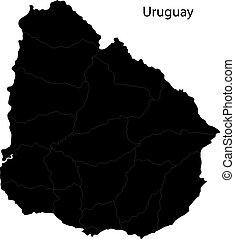 mappa, nero, uruguay