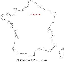 mappa, nero, vettore, francia, contorno, paris., illustrazione, città capitale