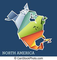 mappa, nord, astratto, vettore, digitale, america